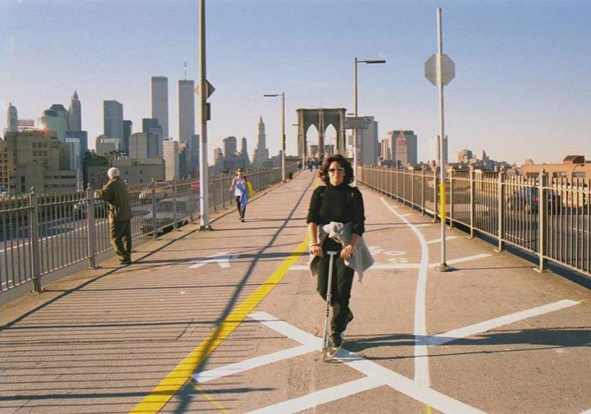 MY_WTC #10 | Marion 2000 | riding scooter across Brooklyn Bridge