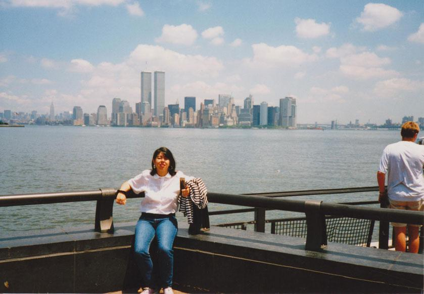 MY_WTC #167 | Andres 1997 | Alicia with the WTC at the background