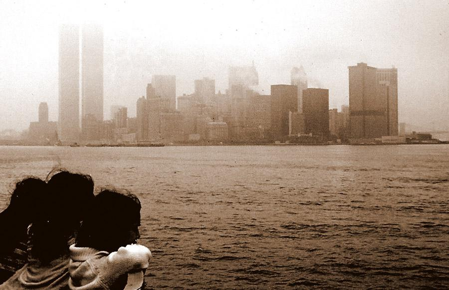 MY_WTC #417 | Valerie circa 1972 | Twin Towers from the Staten Island ferry